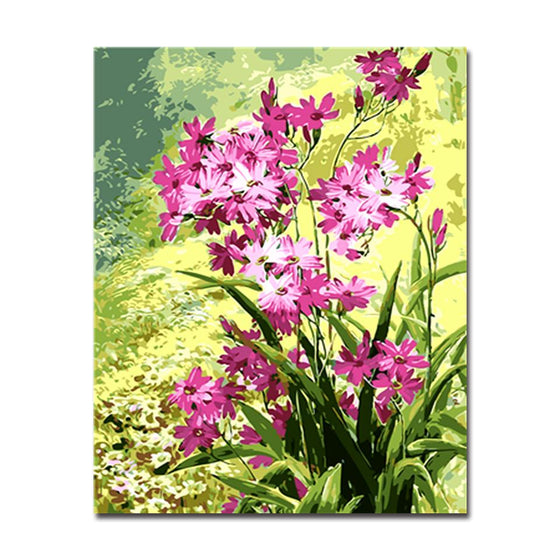 Purple Flower & Green Leaves - DIY Painting by Numbers Kit