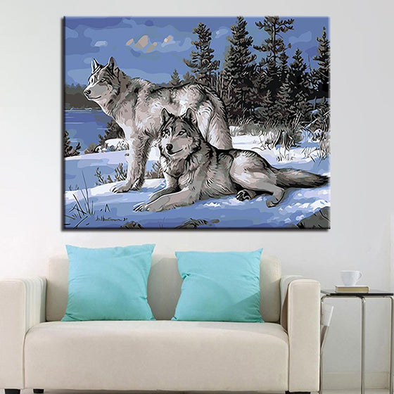 Snow Wolf Couple - DIY Painting by Numbers Kit