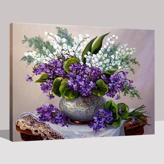 Flower Vase Purple And White Flowers - DIY Painting by Numbers Kit