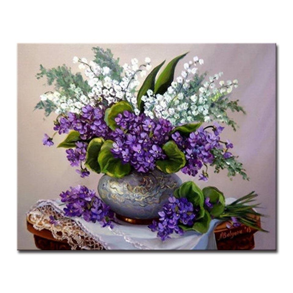sc 1 st  CanvasX & Flower Vase Purple And White Flowers - DIY Painting by Numbers Kit ...