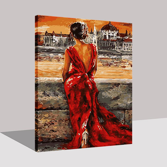 Lady in Red Dress - DIY Painting by Numbers Kit