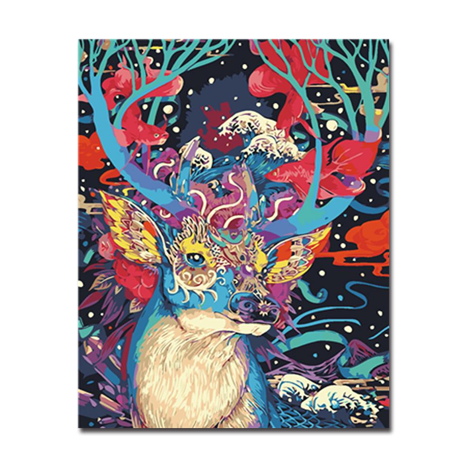Colorful Deer With Different Types Of Patterns - DIY Painting by Numbers Kit