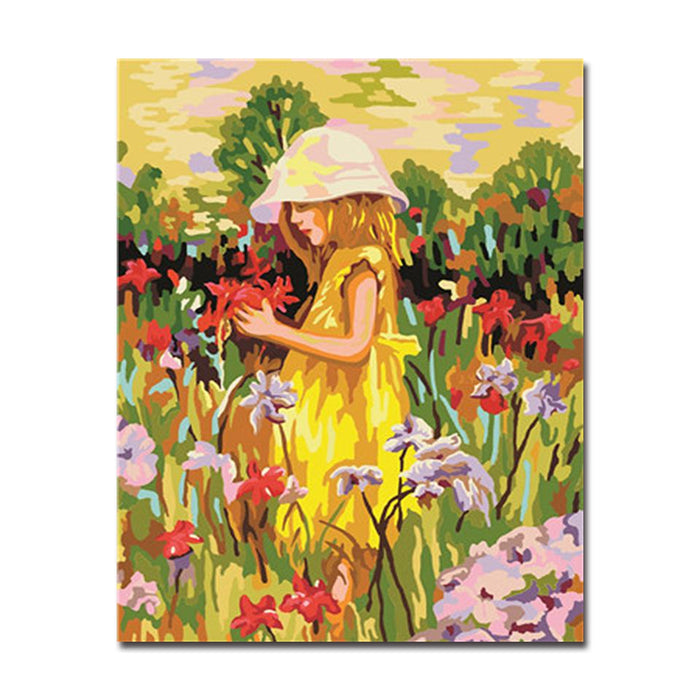 Flower And Little Girl Flower Garden   DIY Painting By Numbers Kit