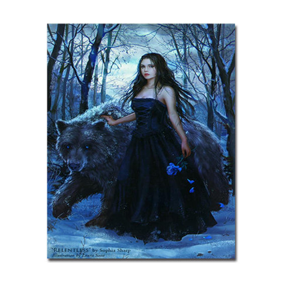 Girl In Black And Polar Bear - DIY Painting by Numbers Kit