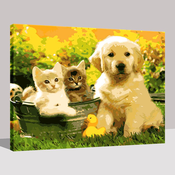 Dog & Cats Playmates - DIY Painting by Numbers Kit
