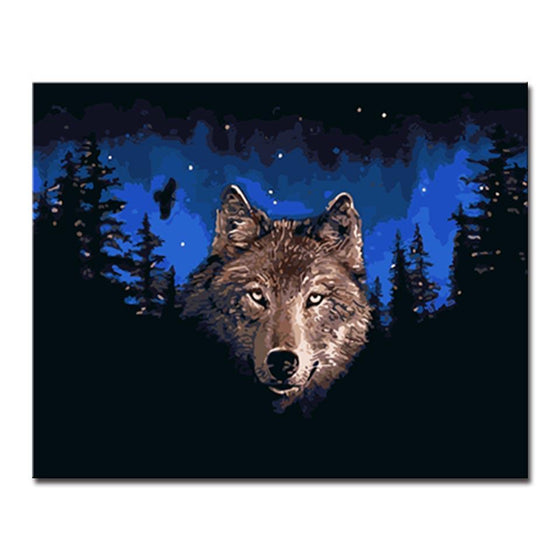 Night Wolf Starry Sky - DIY Painting by Numbers Kit