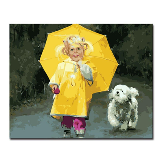 Little Girl Walk With Furry Dog - DIY Painting by Numbers Kit