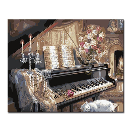 Vintage Family Piano - DIY Painting by Numbers Kit
