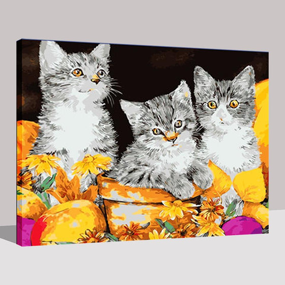 Three Lovely Kittens - DIY Painting by Numbers Kit