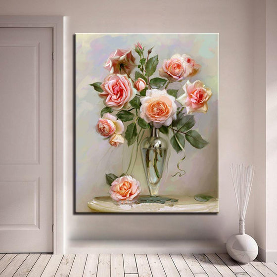Gloomy Pink Roses - DIY Painting by Numbers Kit