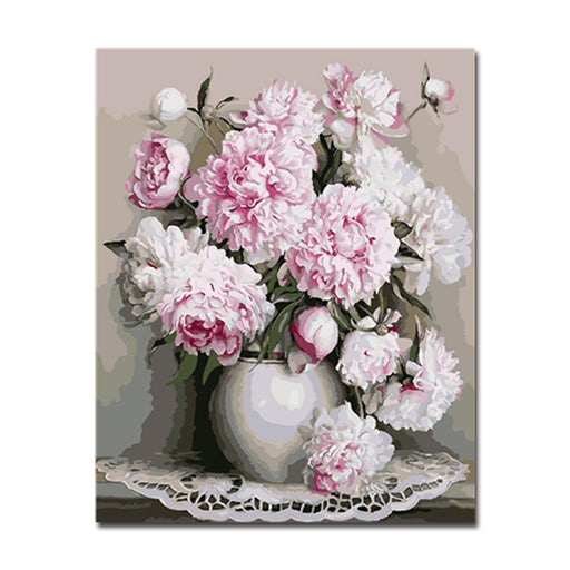 Painting by numbers flowers wall art do it yourself canvas white peony flowers diy painting by numbers kit solutioingenieria Image collections