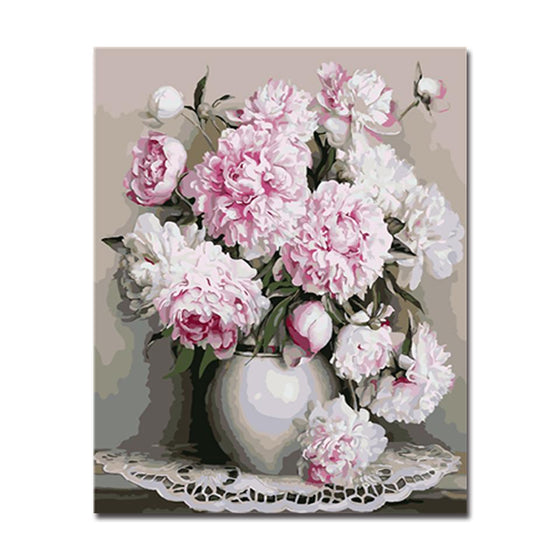 White Peony Flowers - DIY Painting by Numbers Kit