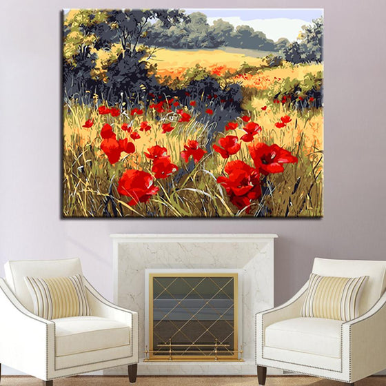 Red Flowers Landscapes - DIY Painting by Numbers Kit