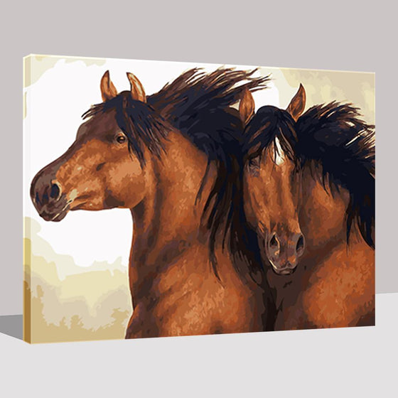 Brown Couple Horses Wall Art Prints - DIY Painting by Numbers Kit