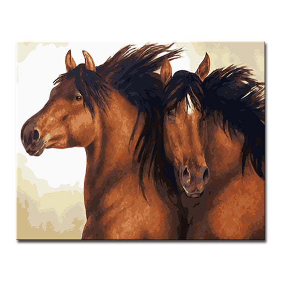 Brown Couple Horses Wall Art - DIY Painting by Numbers Kit
