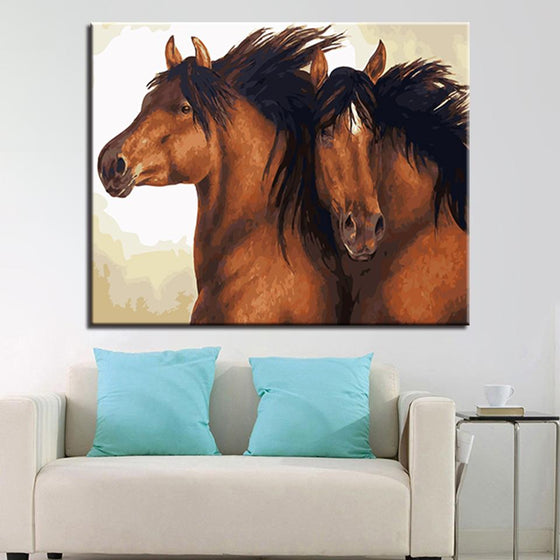 Brown Couple Horses Wall Art Living Room- DIY Painting by Numbers Kit