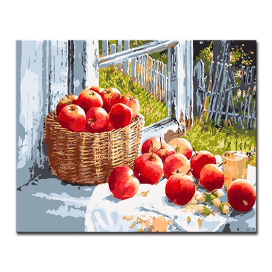 Red Apples In A Basket - DIY Painting by Numbers Kit