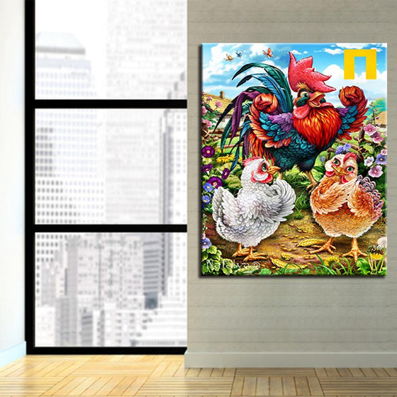 Mother Chicken And Two Chicks - DIY Painting by Numbers Kit