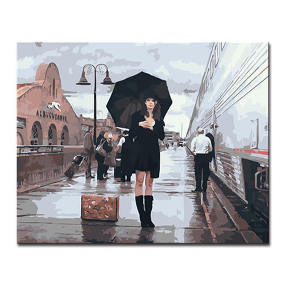 Girl in Black Dress - DIY Painting by Numbers Kit