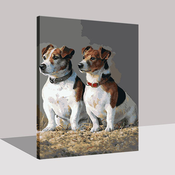Two Chubby Dogs - DIY Painting by Numbers Kit