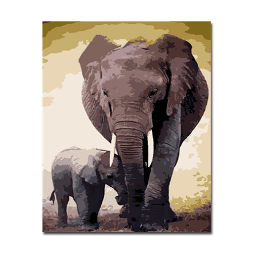 Elephant Mother And Son - DIY Painting by Numbers Kit