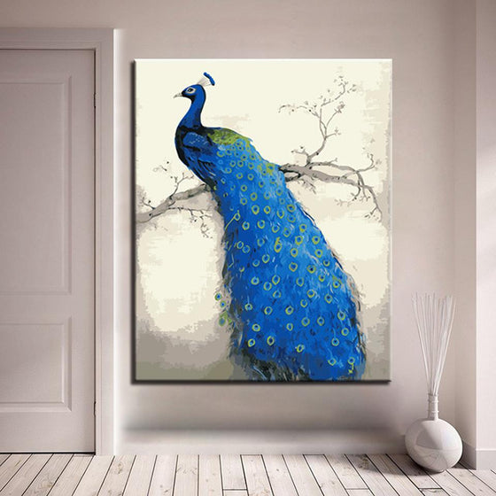 Blue Peacock Right- DIY Painting by Numbers Kit
