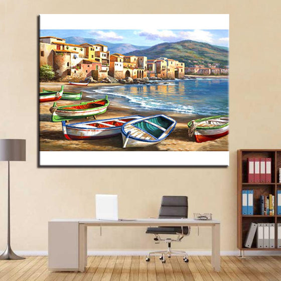 Sea House Beach Small Boat - DIY Painting by Numbers Kit
