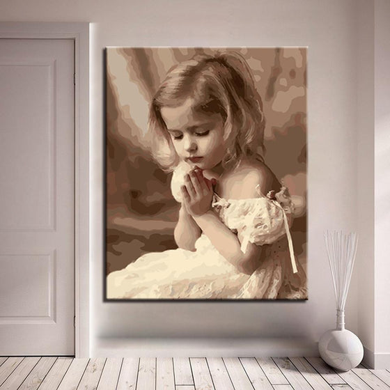 Little Girl Praying - DIY Painting by Numbers Kit