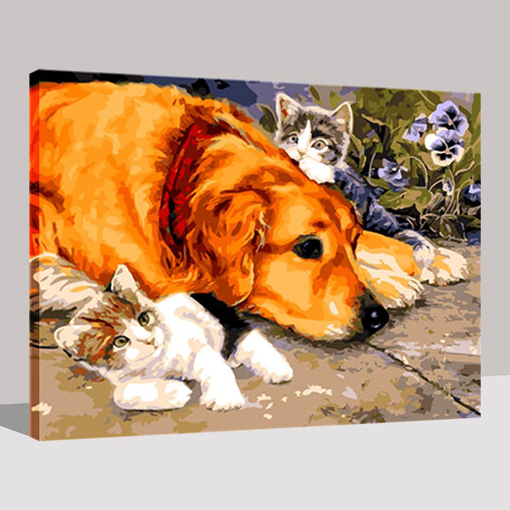 Little Cats Dog Leisurely Playing - DIY Painting by Numbers Kit