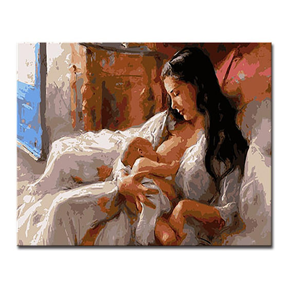 Mother Nursing Her Baby - DIY Painting by Numbers Kit