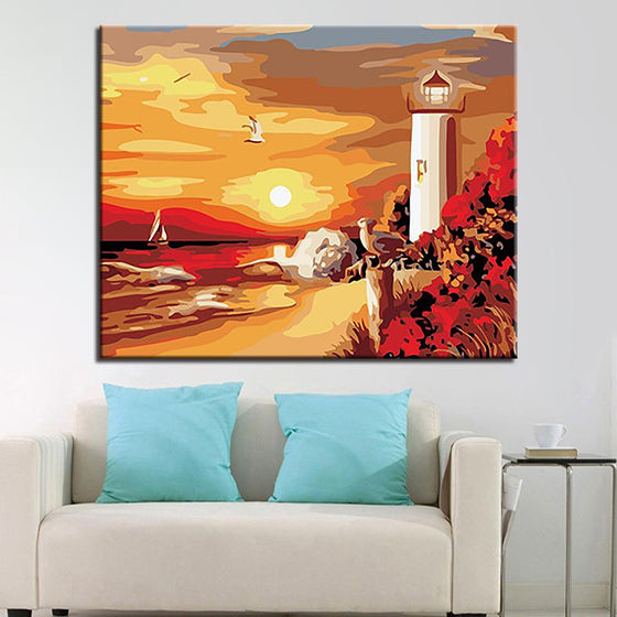 Sunset Lighthouse Sea View - DIY Painting by Numbers Kit