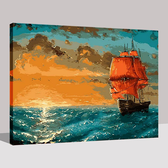 Sailboat Sunset Glow - DIY Painting by Numbers Kit