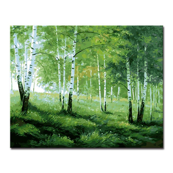 Green Trees And Grasses - DIY Painting by Numbers Kit