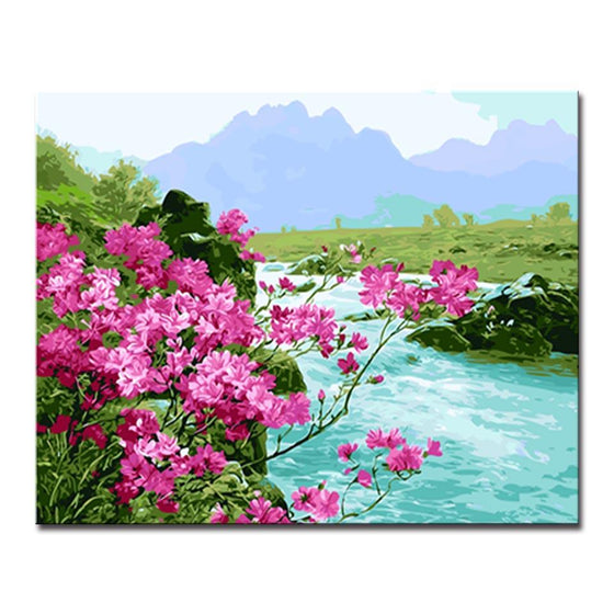 Mountains Rivers Flower - DIY Painting by Numbers Kit