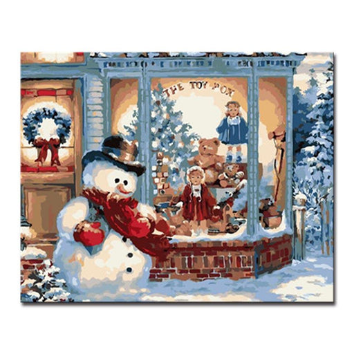 Snowman Outside the Window - DIY Painting by Numbers Kit
