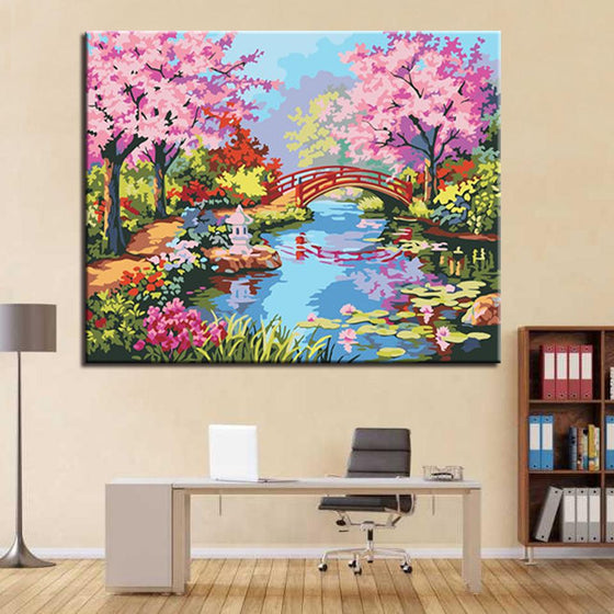 Cherry Blossoms Bridge - DIY Painting by Numbers Kit
