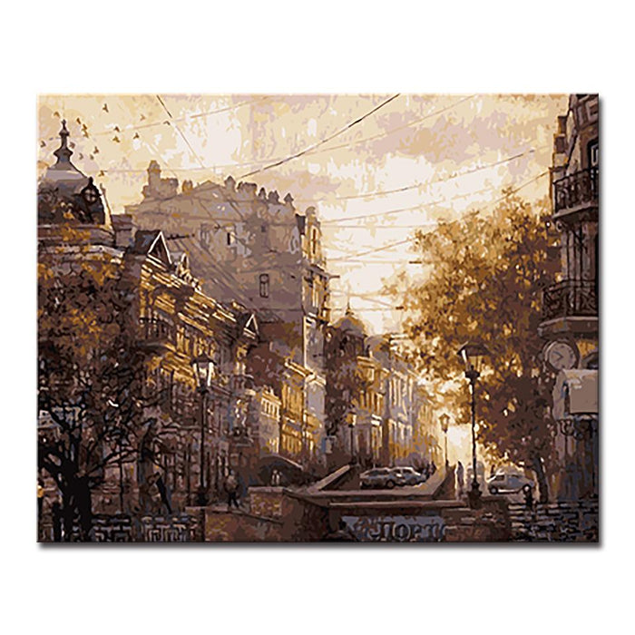 Autumn City Streets Of The Sky - DIY Painting by Numbers Kit