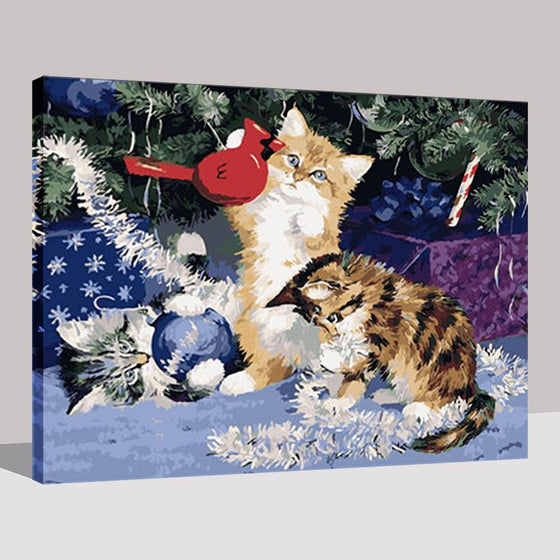 Christmas Kittens - DIY Painting by Numbers Kit