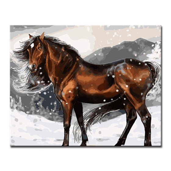 Winter Brown Horse - DIY Painting by Numbers Kit