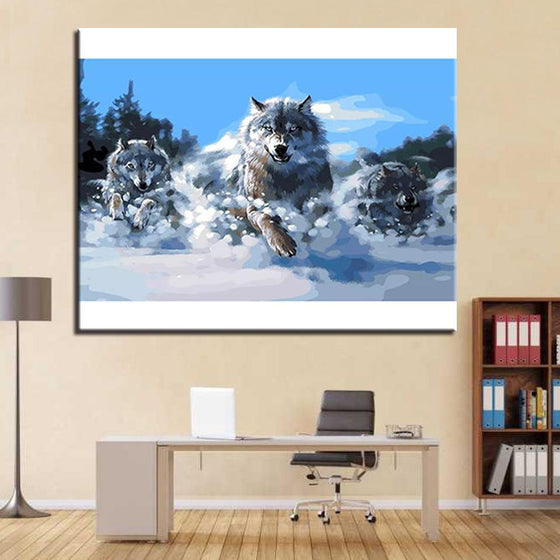 Snow Wolf Running - DIY Painting by Numbers Kit