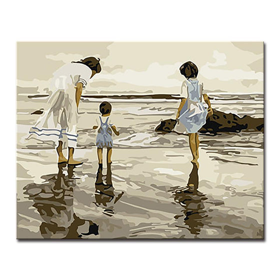 Girls Playing By The Sea - DIY Painting by Numbers Kit