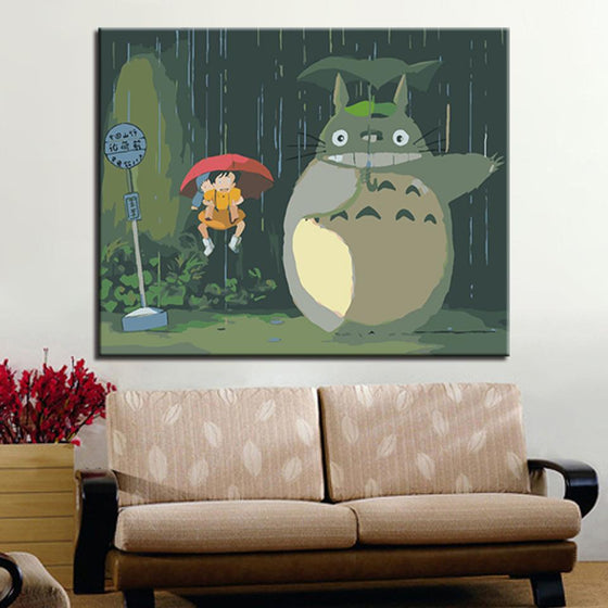 Big Totoro in Umbrella - DIY Painting by Numbers Kit