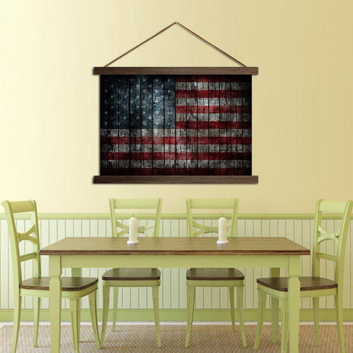 American Flag Solid Wood - Canvas Scroll Wall Art