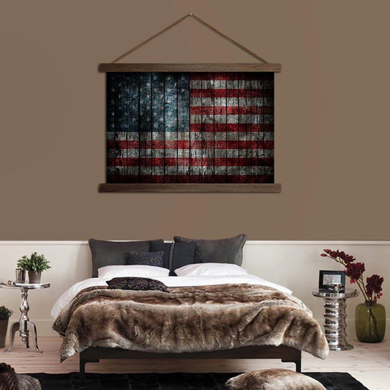 American Flag Solid Wood - Canvas Scroll Wall Art Bedroom