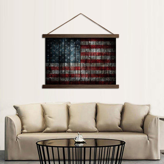 American Flag Solid Wood - Canvas Scroll Wall Art Living Room