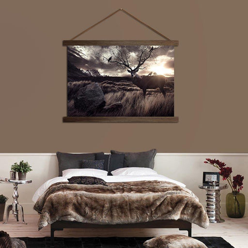 Deer in the Fields - Canvas Scroll Wall Art