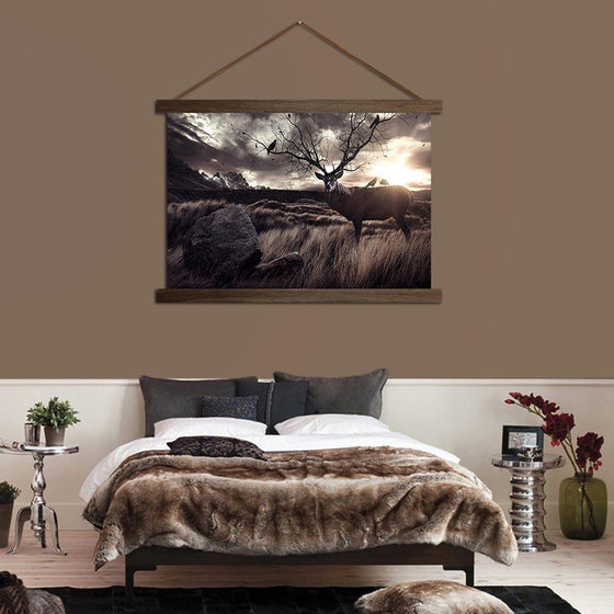 Deer in the Fields - Canvas Scroll Wall Art Bedroom