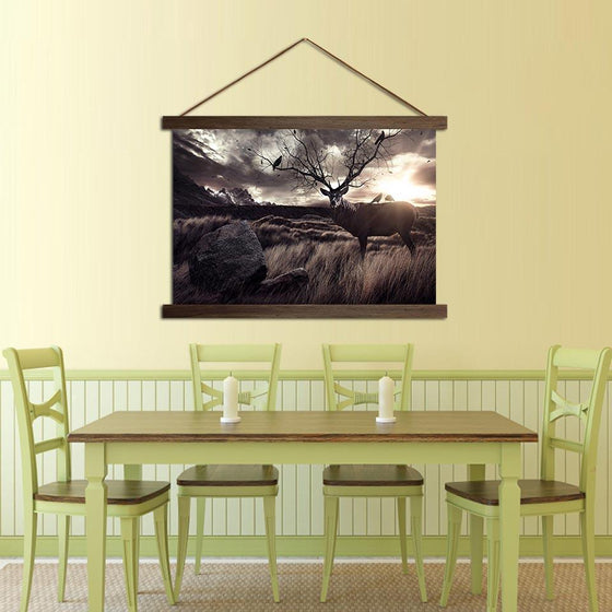 Deer in the Fields - Canvas Scroll Wall Art Dining Room