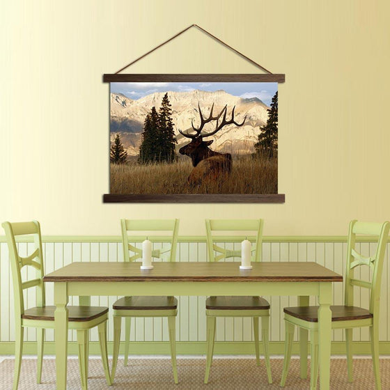 Deer in a Forest - Canvas Scroll Wall Art Dining Room