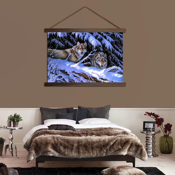 Fierce Wolves - Canvas Scroll Wall Art Bedroom